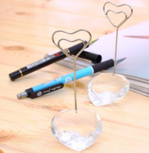 72pcs Elegant White Crystal Love Heart Place card holder Table Number Holder With Card by cute rabbit (Image #2)