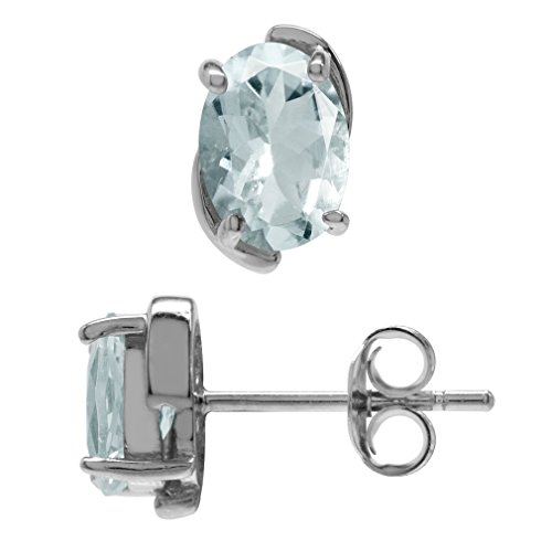 1.26ct. OV 7x5 Genuine Aquamarine White Gold Plated 925 Sterling Silver Stud Earrings