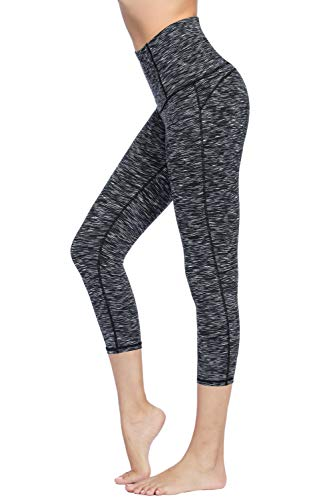 (Dragon Fit Compression Yoga Pants Power Stretch Workout Leggings with High Waist Tummy Control (Small, Capri-Spacedye-BlackGrey))