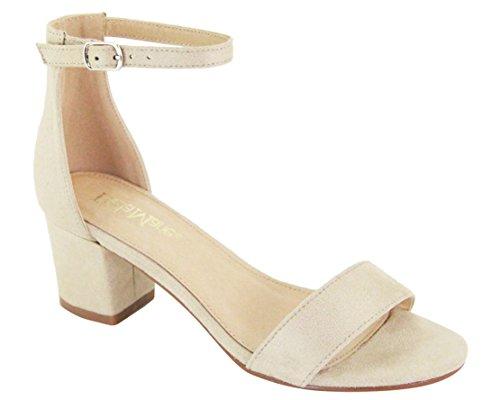 Bella Marie Women's Jean-08 Beige Strappy Open Toe Block Heel Sandal (6) ()