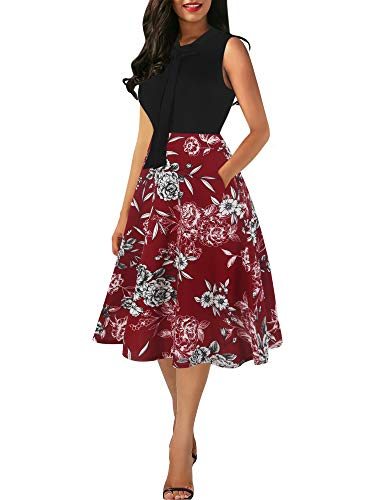 oxiuly Women's Vintage Bow Tie V-Neck Pockets Casual Work Party Cocktail Swing A-line Dresses OX278 (M, BK-RedFP)
