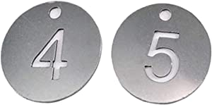 Diameter 1.18 Inches Bigger Hollowed Stainless Steel Number Tags Key Tags with Rings (1-50)