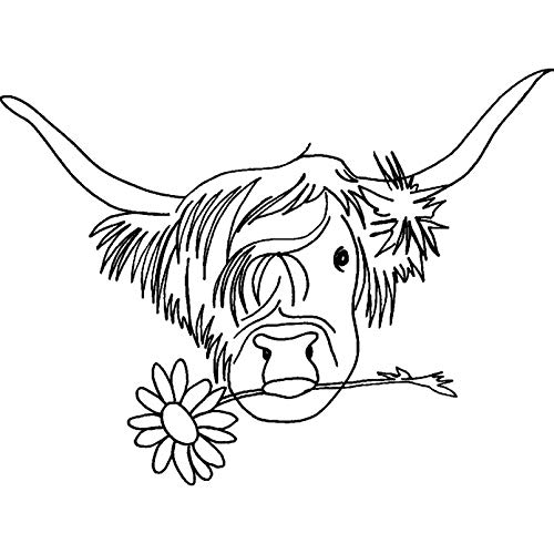 - Azeeda A8 'Highland Cow with Flower' Unmounted Rubber Stamp (RS00022023)