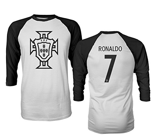 Tcamp Portugal 2018 National Soccer #7 Cristiano RONALDO World Championship Men's Quarter Sleeve Raglan T-Shirt (Black, Adult Large)