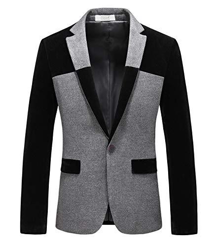 MOGU Men's 1 Button Center Vent Wool Blend Blazer Jacket US Size 40(Tag Asian Size 4XL) Black