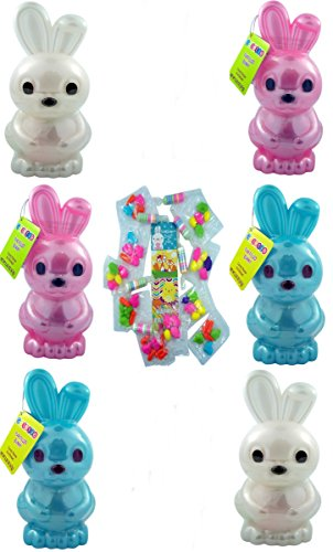 Jumbo Bunny Easter Basket Stuffers Filled with Candy and Stickers, 7 Inch, Set of 6