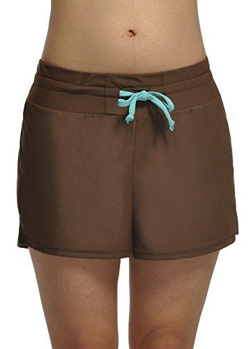 Damen UV Schutz Badeshorts Schwimmen Bikinihose Wassersport Schwimmshorts Boardshorts Kaffee XXL