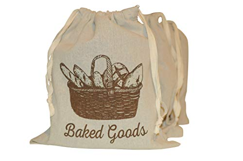 Reusable Natural Linen Bread Bags For Homemade Bread. 3-Pack. 13x15. Bonus - 3 Clear Perforated Bags.  Bread Loaf Bags, Reusable Produce Storage Bags. Veggie Keeper Bags by Homerzon