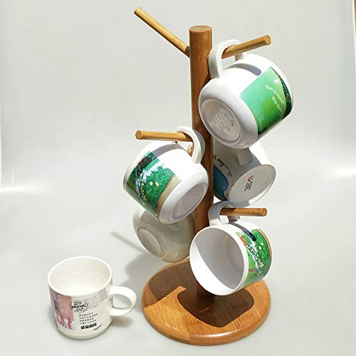 YF Cup Holder Mug Rack Tree for Counter Kitchen Removable Wooden Mug Stand Storage Coffee Tea Cup Organizer Hanger Holder with 6 Hooks Indoor Decorations Creative Storage Rack