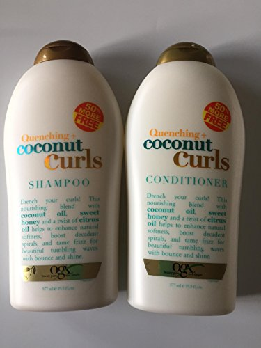 OGX Quenching Plus Coconut Curls Bundle Shampoo & Conditioner 19.5 Ounce each (Shampoo And Conditioner To Get Curly Hair)