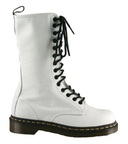 Dr. Martens 1B99, 14 Eyelet, Womens Napa Leather Boots, White - stylishcombatboots.com