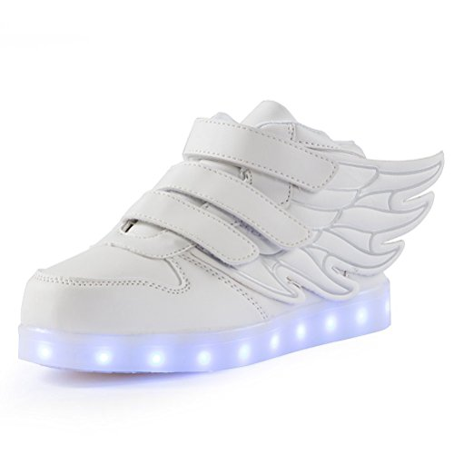 24XOmx55S99 LED Light Up Shoes USB Flashing Sneakers for Kids Boys Girls-(White 10 M US Toddler)