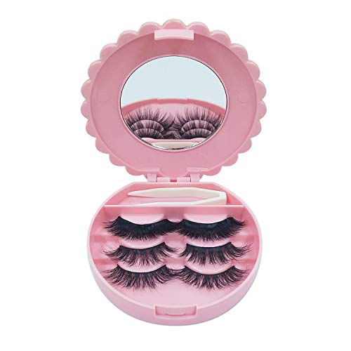 3D Mink Lashes Strips 3 pairs False Eyelashes Long Volume with Eyelashes Box Protable   No Glue, Reusable
