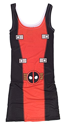 [I Am Deadpool Marvel Comics Mighty Fine Juniors Costume Tunic Tank Top Dress] (Marvel Colossus Costumes)