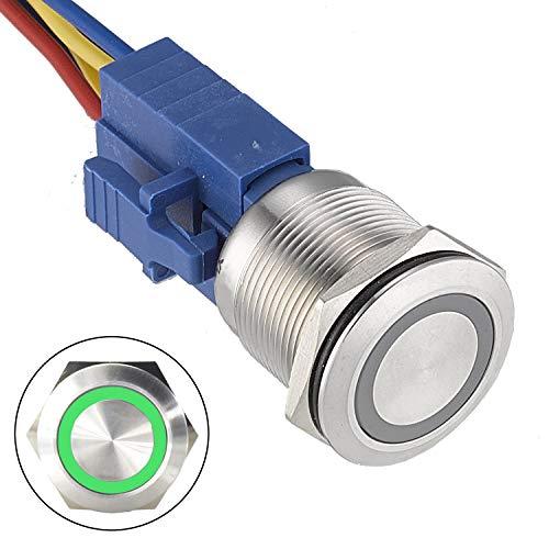 API-ELE [3 year warranty] 22mm Latching Push Button Switch 12V Angel Eye LED Waterproof Stainless Steel Round Metal Self-locking Latching 7/8 1NO 1NC (Green) r