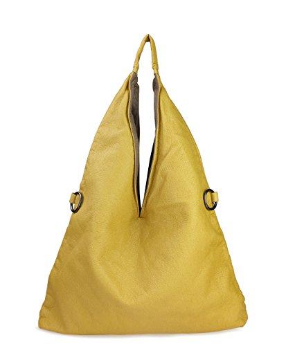 Yellow Hobo Handbag (Hobo Shoulder Handbag 2 in 1 Color Block Washed Soft Leather Women Tote (Yellow))