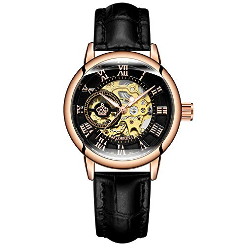 Gute Women's Automatic Mechanical Wrist Watch, Skeleton Stainless Steel Mesh Band Self Winding Roman Numeral Lady Watch ()