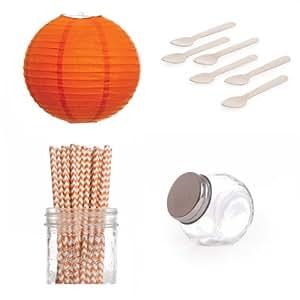 Dress My Cupcake Lanterns Dessert Table Party Kit, Includes Candy Favor Jars with Orange Chevron Straws