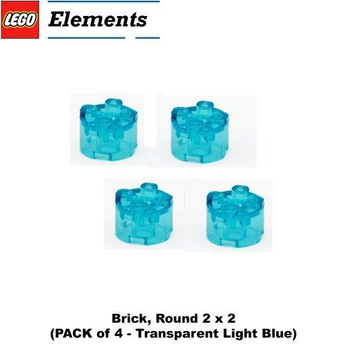 Lego Parts: Brick, Round 2 x 2 (PACK of 4 - Transparent Light Blue) (Death Star Ii Lego)