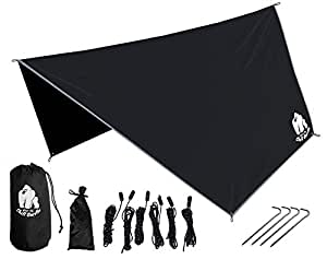 CHILL GORILLA HEX HAMMOCK RAIN FLY TENT TARP Waterproof Camping Shelter. Essential Survival Gear. Stakes Included. Lightweight. Easy to setup. Made from RIPSTOP Nylon BLACK