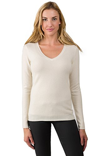 JENNIE LIU Women's 100% Pure Cashmere Long Sleeve Pullover V Neck Sweater (L, CREAM)