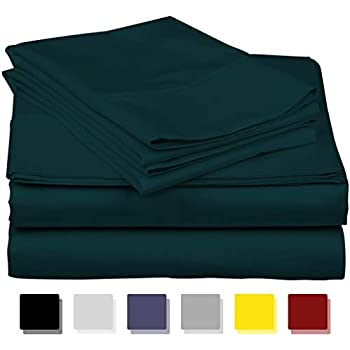 600-Thread-Count Best 100% Egyptian Cotton Sheets & Pillowcases Set - 4 Pc Teal Long-Staple Combed Cotton Bedding King Sheet for Bed, Fits Mattress Upto 18'' Deep Pocket, Soft & Silky Sateen Weave