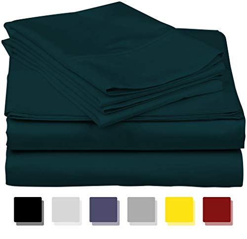 - 600-Thread-Count Best 100% Egyptian Cotton Sheets & Pillowcases Set - 4 Pc Teal Long-Staple Combed Cotton Bedding Queen Sheet for Bed, Fits Mattress Upto 18'' Deep Pocket, Soft & Silky Sateen Weave