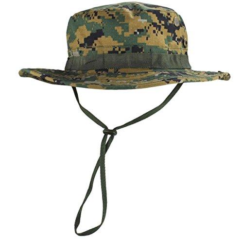 jffcestore Men's Military Camo Boonie Hat Fishing Sun Hat Snap Wide Brim Bucket Hat with Adjustable Strap(Digital Jungle) - Boonie Hat Jungle