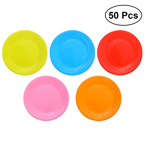 Toyvian 50 Pcs 7 Inch Disposable Paper Plates Assorted Color Round Dinner Plates Birthday Party Supplies