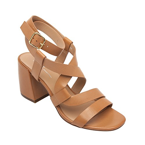 Linea Paolo Iris | Women's Leather Serpentine Ankle Strap Comfortable Block Heel Sandal (New Spring) Tan Leather 7M Womens Sienna Strap Sandal