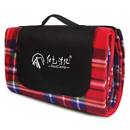 (REDCAMP Extra Large Fleece Picnic Blanket Waterproof - 79