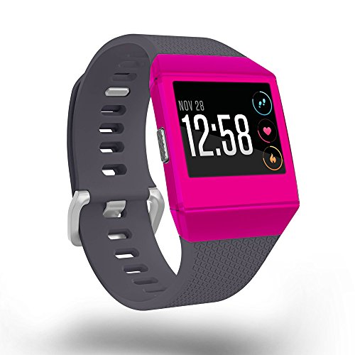 MightySkins Skin For Fitbit Ionic - Solid Hot Pink   Protective, Durable, and Unique Vinyl Decal wrap cover   Easy To Apply, Remove, and Change Styles   Made in the USA
