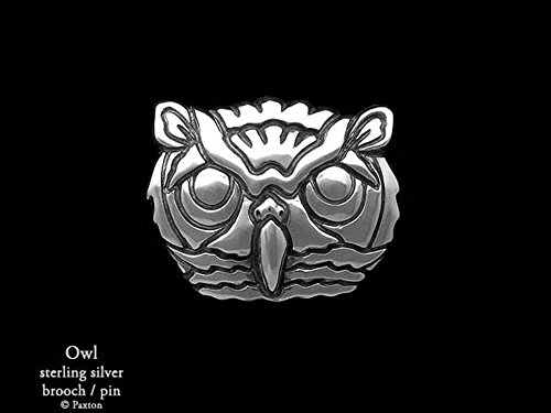 Owl Head Brooch Pin in Sterling Silver Hand Carved & Cast by Paxton by Paxton Jewelry