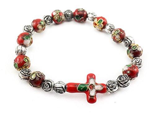 Catholic Cross Bracelet Red Cloisonne Beads Wrist Rosary Bangle Christian Adjustable