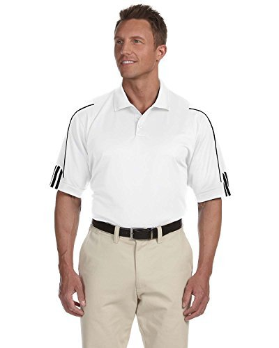 Mens Climacool Pique Polo Shirt - Adidas Men's ClimaLite 3 Stripes Cuff Polo Shirt, Medium, WHITE/BLACK