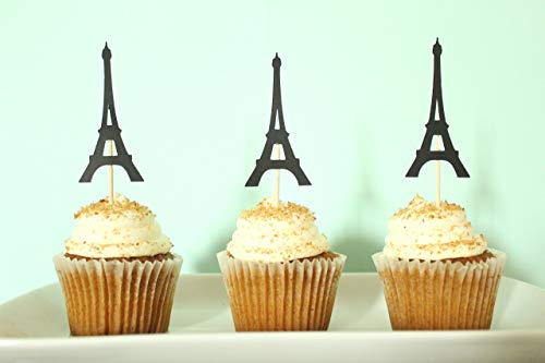 (Eiffel Tower Cupcake Toppers | Paris Party Decor | Parisian Party Supplies | Set of)