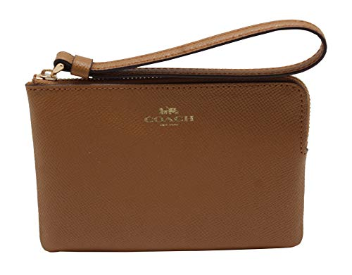- Coach Crossgrain Leather Corner Zip Wristlet Wallet (Light Saddle)