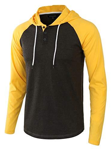 HETHCODE Men's Casual Lightweight Long Sleeve Raglan Henley Jersey Hoodie Shirt H.Charcoal/A.Gold L