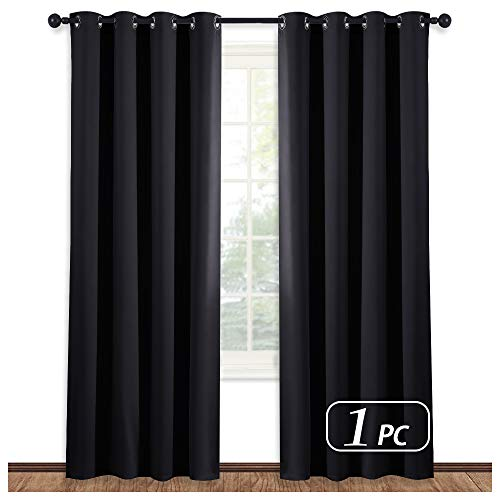 NICETOWN Black Blind Blackout Window Curtain - (Black Color) Thermal Insulated Modern Window Covering Soundproof Drape Panel for Bedroom, W52 x L84 Inch, 8 Grommets Top, 1 Piece