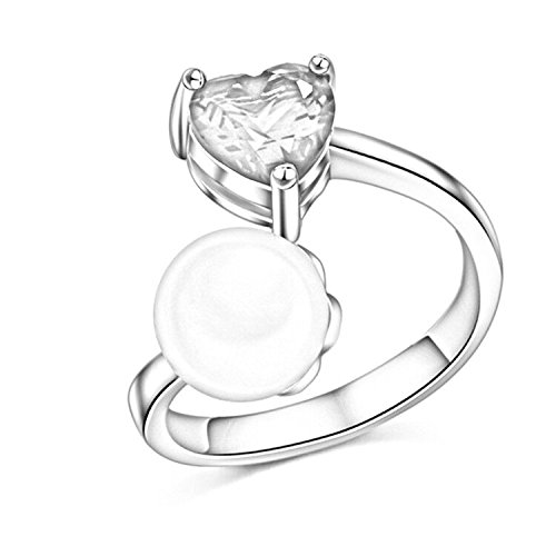 S925 Silver Plated Vintage CZ White Crystal Heart With Pearl Women Open Band (20mm Open Heart Ring)