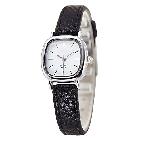 Gets Women Small Wrist Watches Leather Strap Unique Simple Square Watch Analog Classic Watch(Black strap white dial)