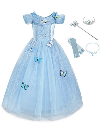 aibeiboutique New Dresses Butterfly Princess Fancy Dress for Little Girls Costume Cosplay (8-9 Years, Blue)