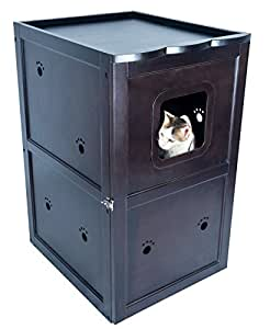 """Petsfit 21x25x35 Inches Espresso Double-Decker Pet House Litter Box Enclosure Night Stand Painted With Non-Toxic With Latch Holding The Door 21""""L x 23""""W x 35""""H"""