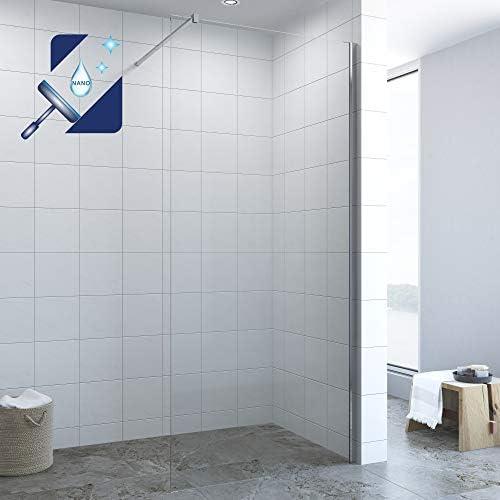 Mampara de ducha de 80 cm, 10 mm, con revestimiento NANO, altura ...