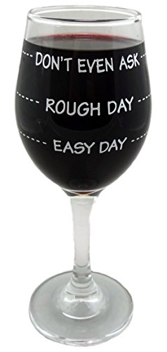Funny Guy Mugs Don't Even Ask Measuring Wine Glass, 11-Ounce - Unique Gift for Women, Mom, Daughter, Wife, Aunt, Sister, Girlfriend, Teacher or Coworker