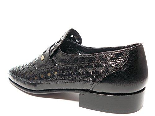 trenzado cabra negro 7339 piel vestir de en negro 5 hombre marca DONATTELLI mocasin Zapato Zx4Sw5qS