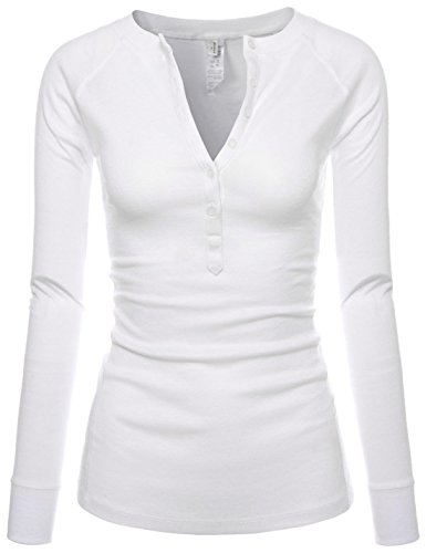 Womens Fitted Tee Henley Neck Long Sleeve Cotton Tshirts WHITE US XL(Tag size (Knit Henley Tee)