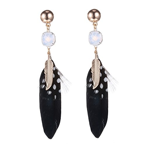 eManco Bohemian Ethnic Natural Black Feather Gold Leaf Opal Crystal Drop Dangle Earrings Stud for (Scottish Girl Halloween Costume)