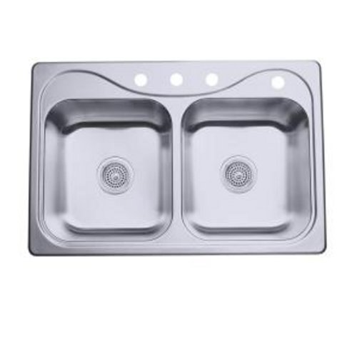 Bowl Kitchen Equal Sink (STERLING 11400-4-NA Southhaven 33-inch by 22-inch Top-mount Double Equal Bowl Kitchen Sink, Stainless Steel)