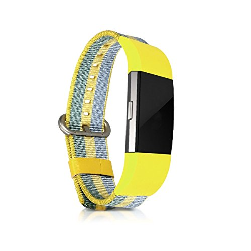 kwmobile Bracelet for Fitbit Charge 2 - Nylon Watch Band Fitness Wristband in Yellow